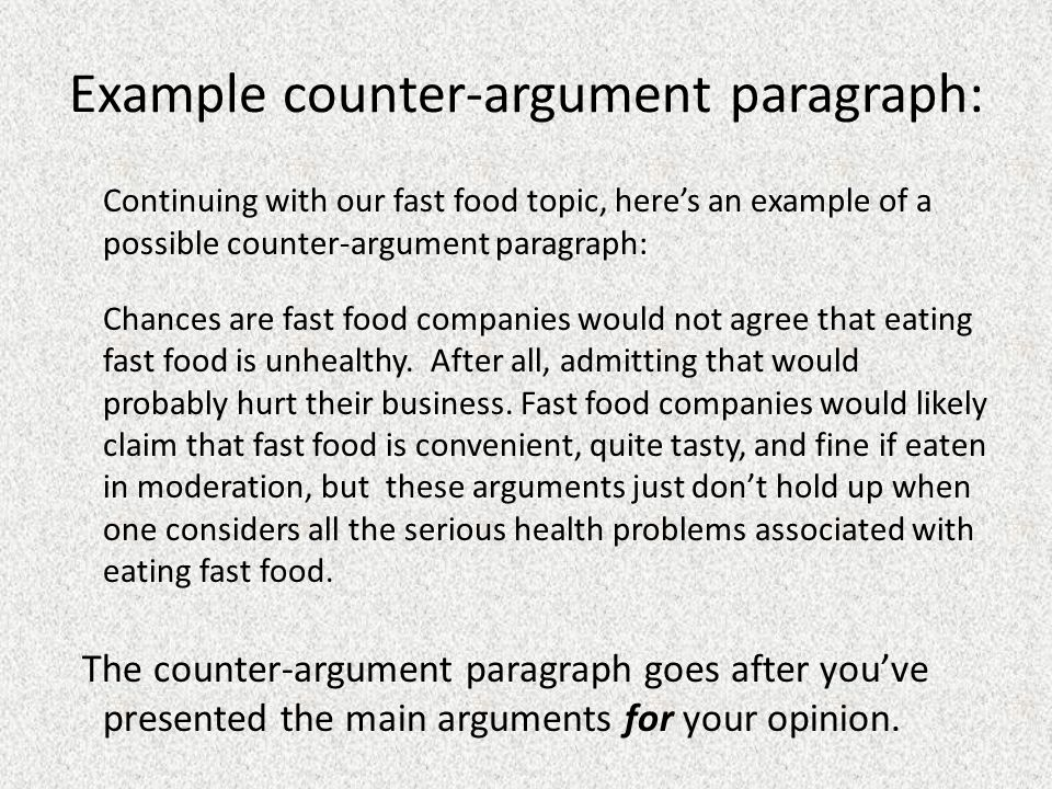 Counter argument example essay