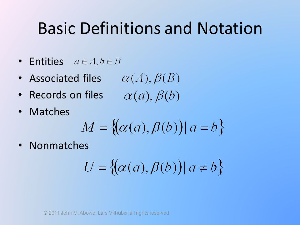 Basic Definitions and Notation Entities Associated files Records on files Matches Nonmatches © 2011 John M.