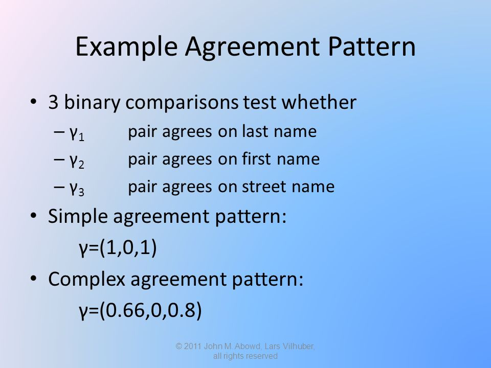 Example Agreement Pattern 3 binary comparisons test whether – γ 1 pair agrees on last name – γ 2 pair agrees on first name – γ 3 pair agrees on street name Simple agreement pattern: γ=(1,0,1) Complex agreement pattern: γ=(0.66,0,0.8) © 2011 John M.