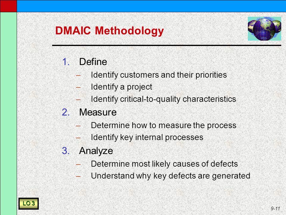 9-11 DMAIC Methodology 1.Define –Identify customers and their priorities –Identify a project –Identify critical-to-quality characteristics 2.Measure –Determine how to measure the process –Identify key internal processes 3.Analyze –Determine most likely causes of defects –Understand why key defects are generated LO 3