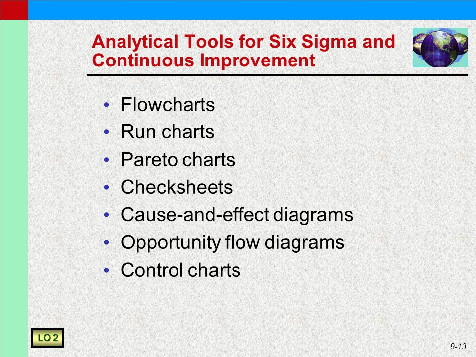 9-13 Analytical Tools for Six Sigma and Continuous Improvement Flowcharts Run charts Pareto charts Checksheets Cause-and-effect diagrams Opportunity flow diagrams Control charts LO 2