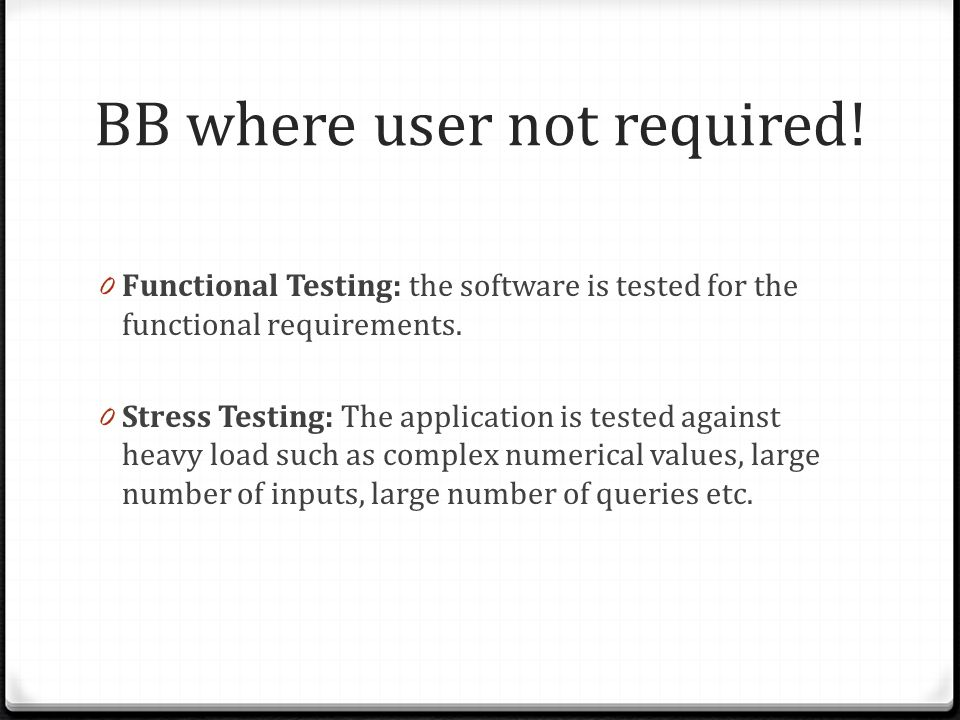 BB where user not required.