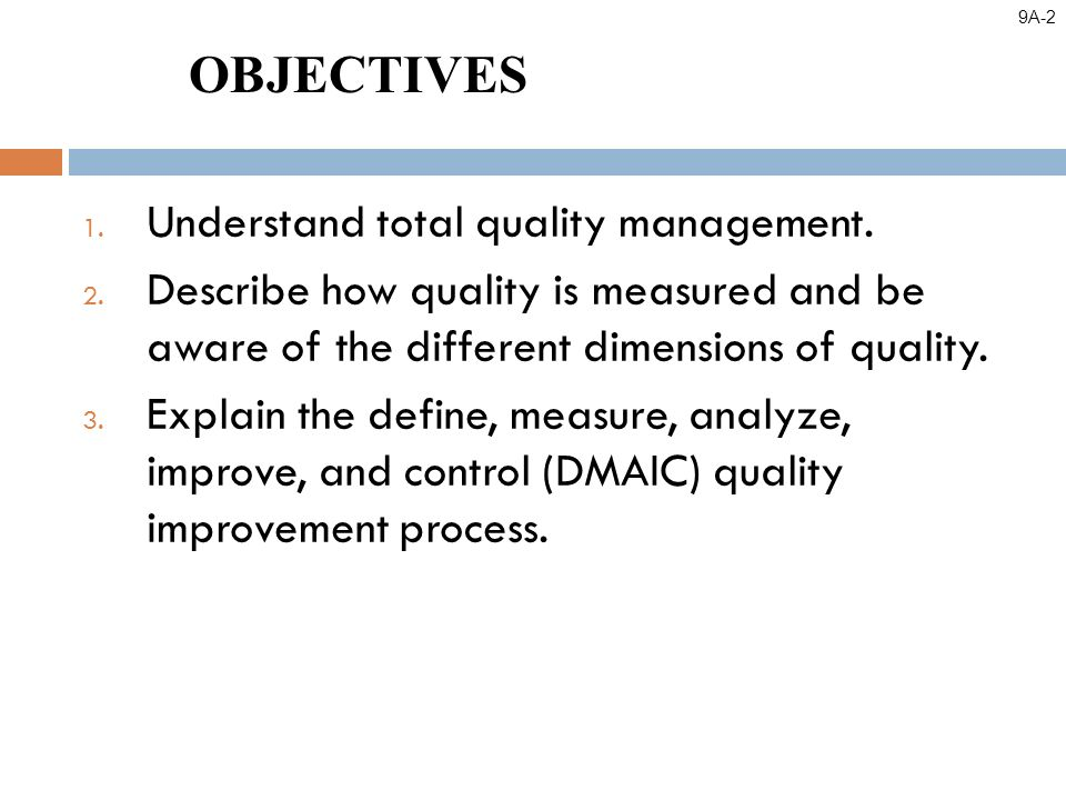 1. Understand total quality management. 2.