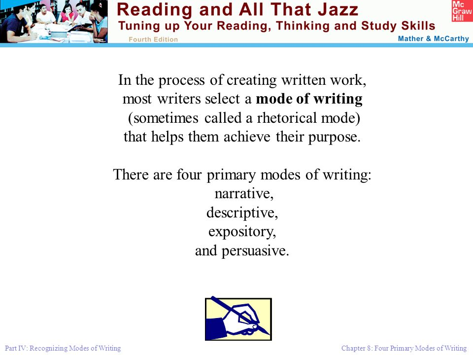 Part IV: Recognizing Modes of Writing Chapter 8: Four Primary Modes of Writing In the process of creating written work, most writers select a mode of writing (sometimes called a rhetorical mode) that helps them achieve their purpose.