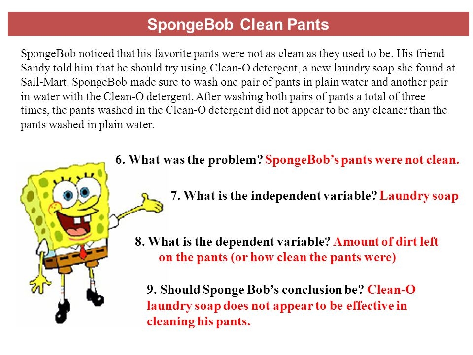 Printables Spongebob Science Worksheet science 9413 scientific method and variables spongebob clean pants 6 what was the problem spongebobs were not clean