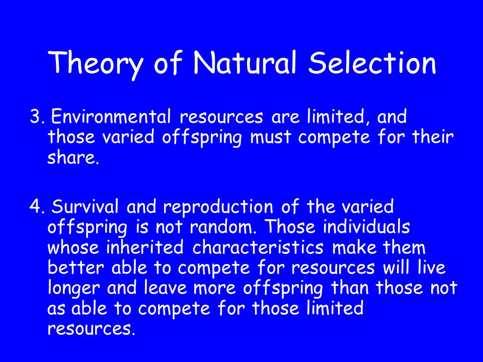 Theory of Natural Selection 1. Organisms are capable of producing huge numbers of offspring.