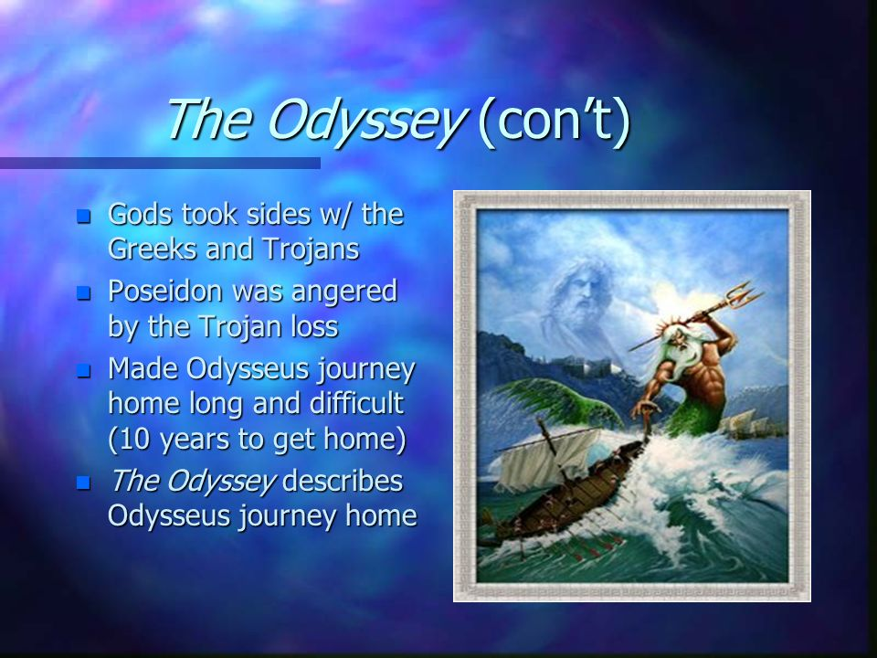 the odyssey a gods influence Was the odyssey like the bible for greeks and how the olympian gods came to while the both the iliad and odyssey have an enormous influence on greek.