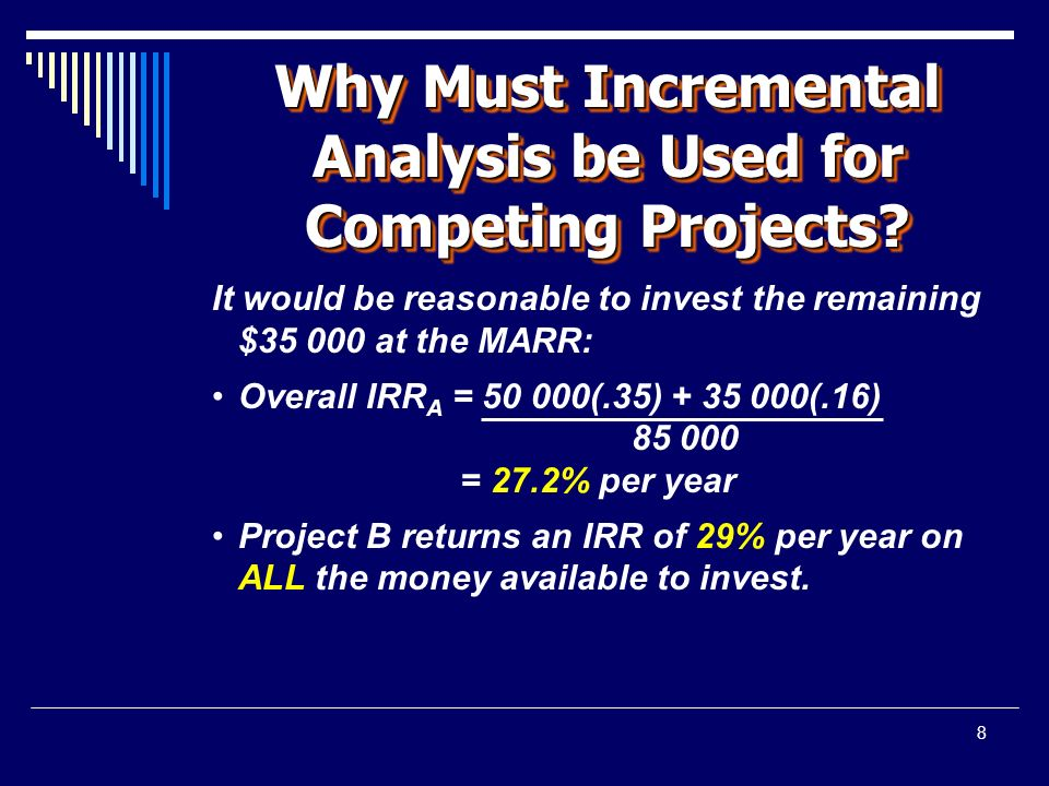 8 Why Must Incremental Analysis be Used for Competing Projects.