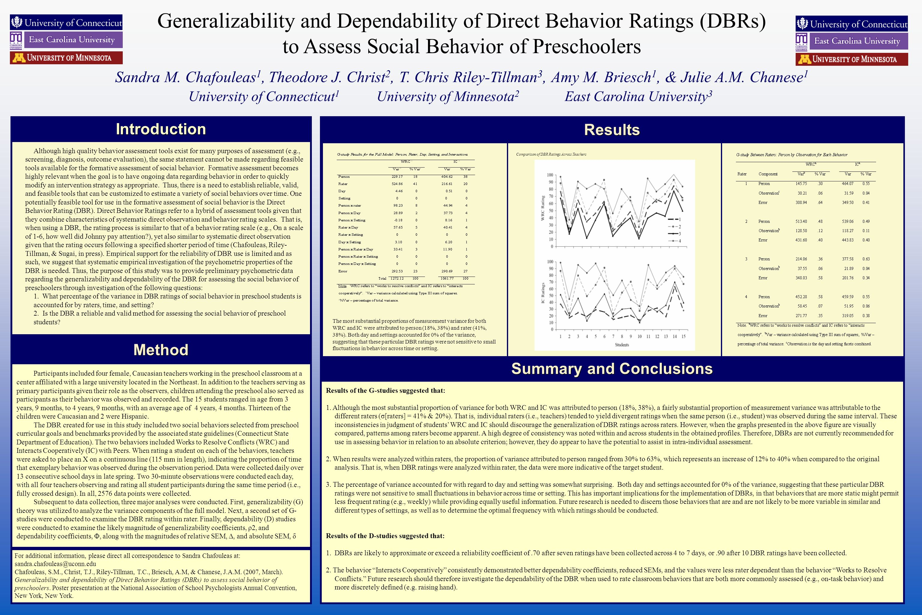Generalizability and Dependability of Direct Behavior Ratings (DBRs) to Assess Social Behavior of Preschoolers Sandra M.