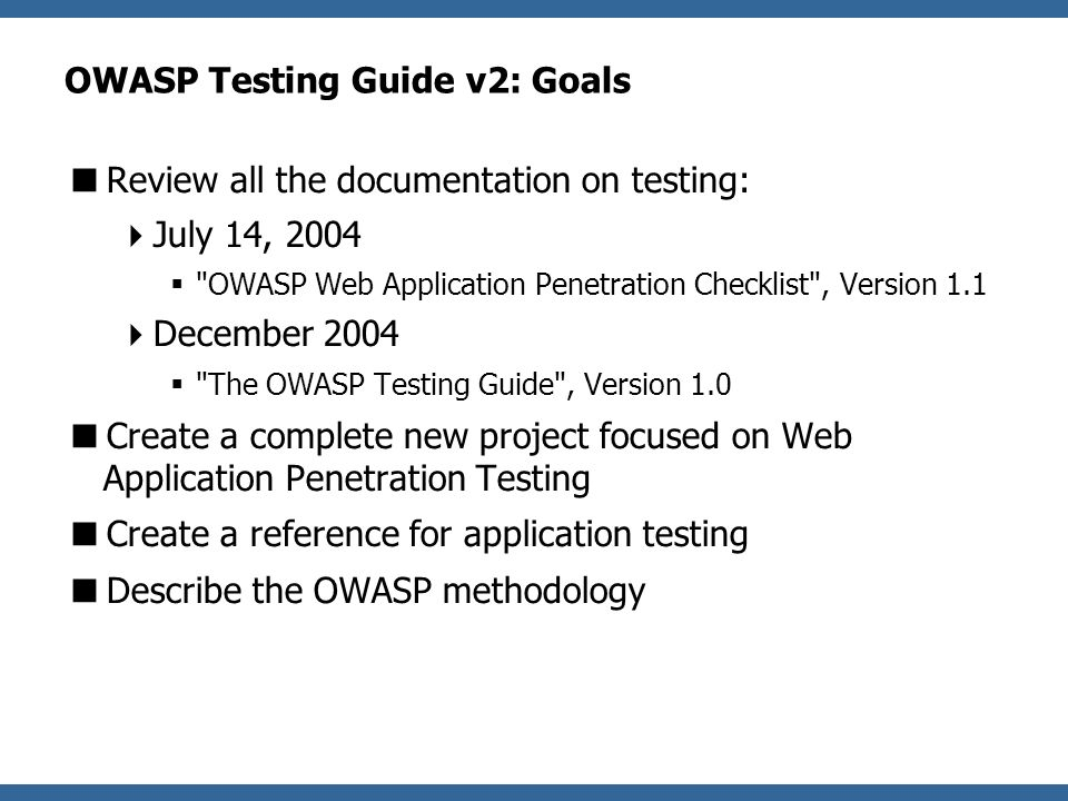 RipppLESS !!! owasp web application penetration checklist chick