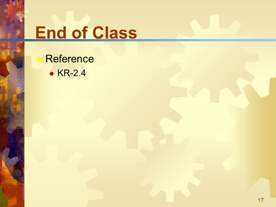 17 End of Class  Reference  KR-2.4