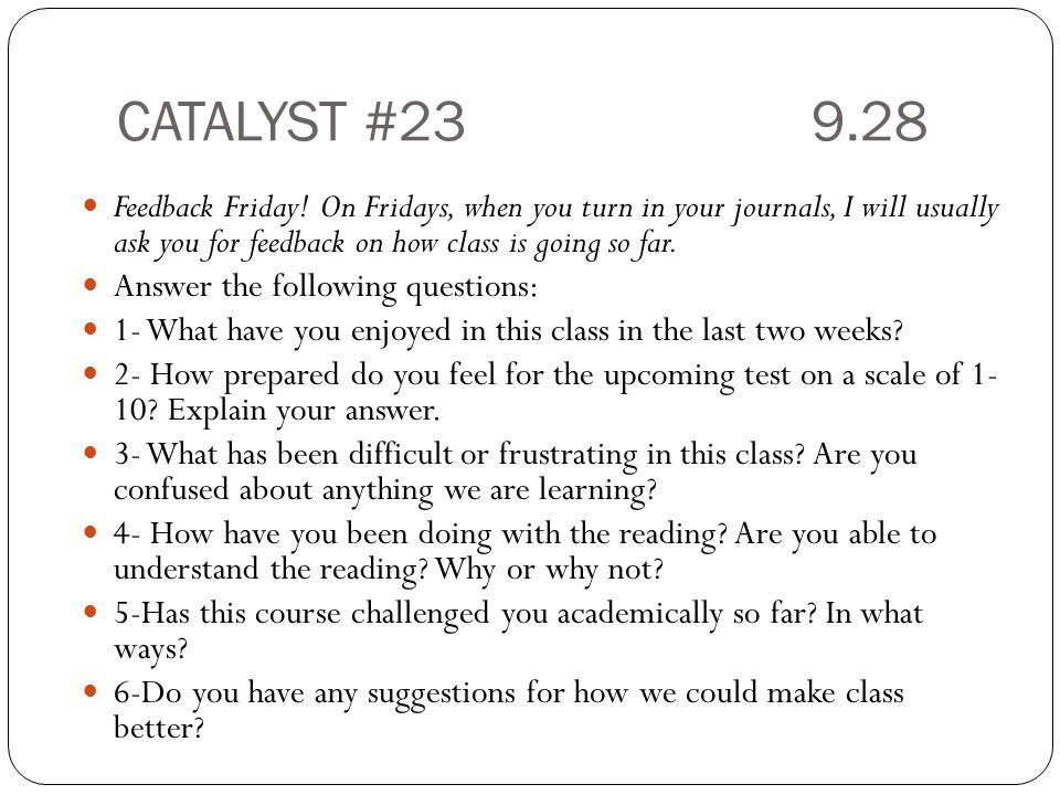 CATALYST # Feedback Friday.