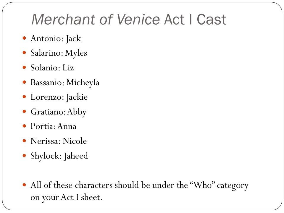 Merchant of Venice Act I Cast Antonio: Jack Salarino: Myles Solanio: Liz Bassanio: Micheyla Lorenzo: Jackie Gratiano: Abby Portia: Anna Nerissa: Nicole Shylock: Jaheed All of these characters should be under the Who category on your Act I sheet.
