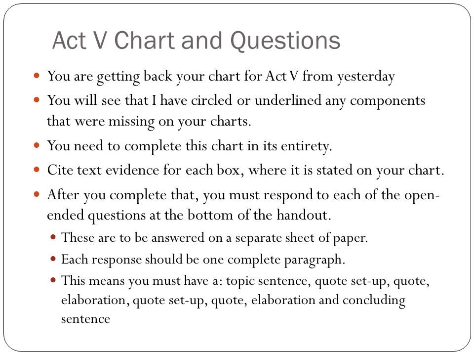 Act V Chart and Questions You are getting back your chart for Act V from yesterday You will see that I have circled or underlined any components that were missing on your charts.