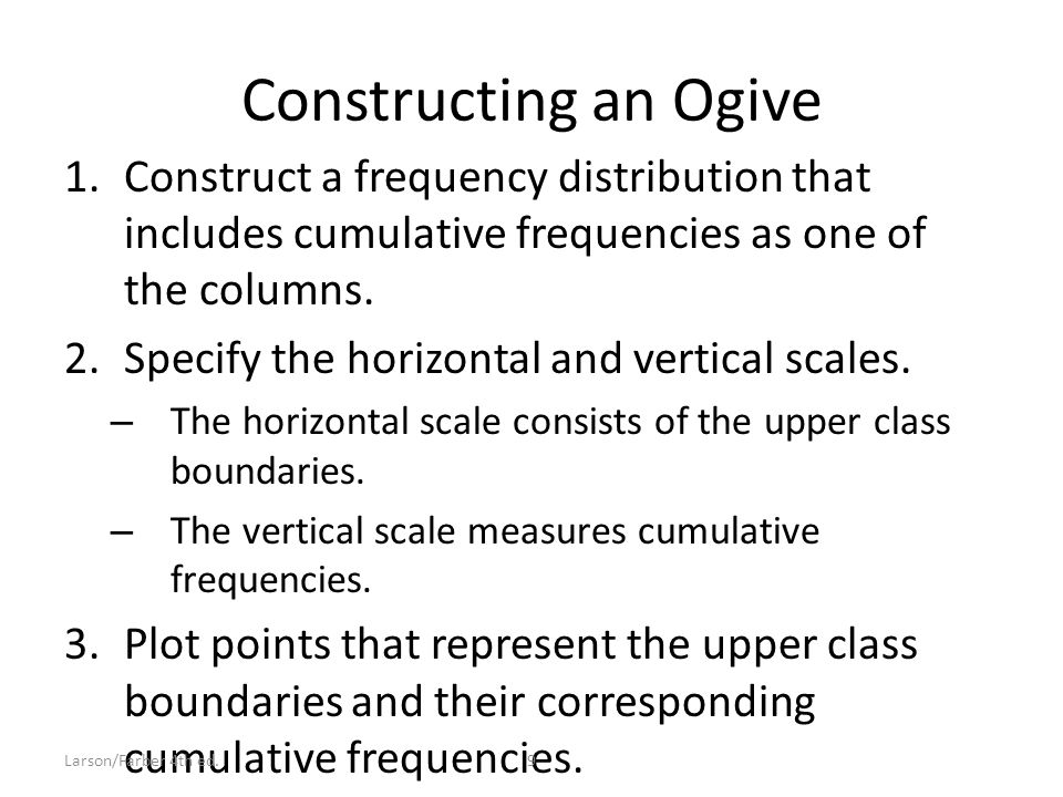 Constructing an Ogive 1.Construct a frequency distribution that includes cumulative frequencies as one of the columns.