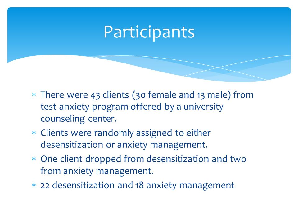  There were 43 clients (30 female and 13 male) from test anxiety program offered by a university counseling center.
