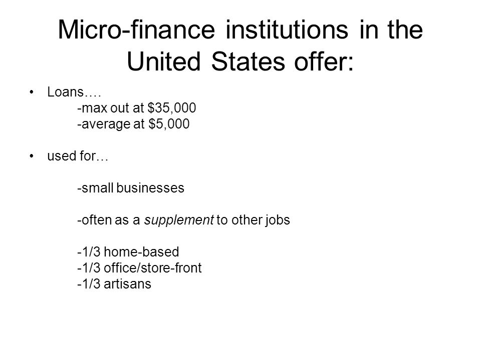 Micro Finance Institutions In The United States Offer: Loansu2026