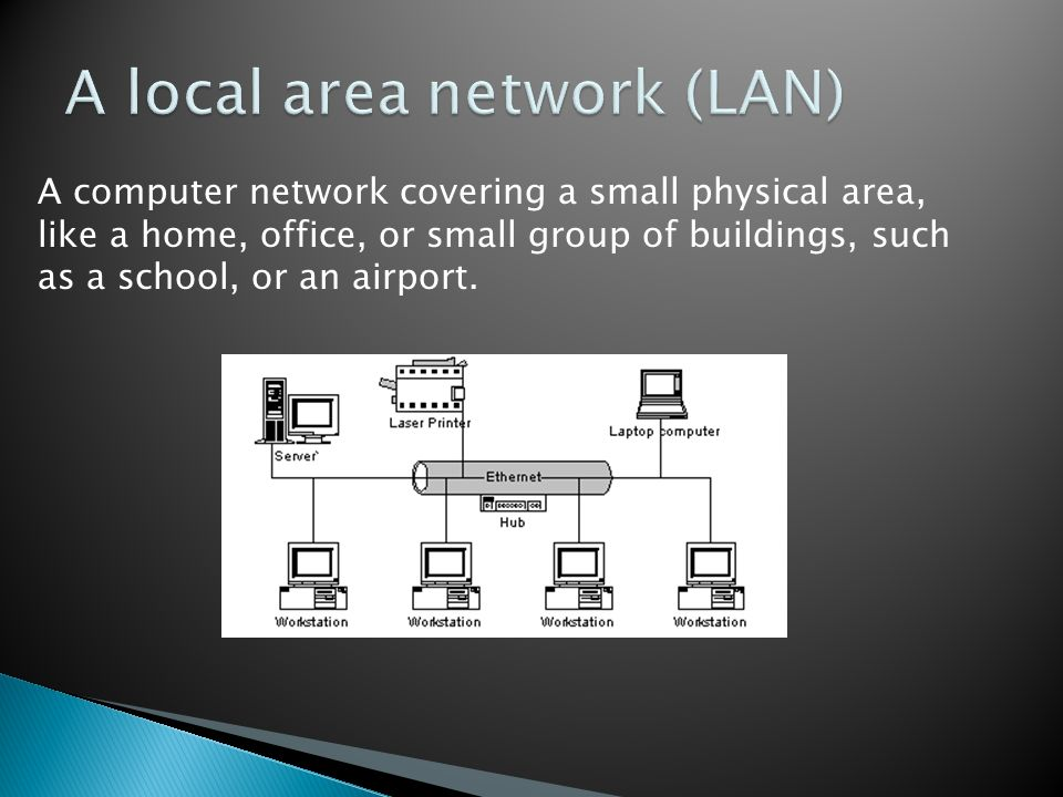 A computer network covering a small physical area, like a home, office, or small group of buildings, such as a school, or an airport.