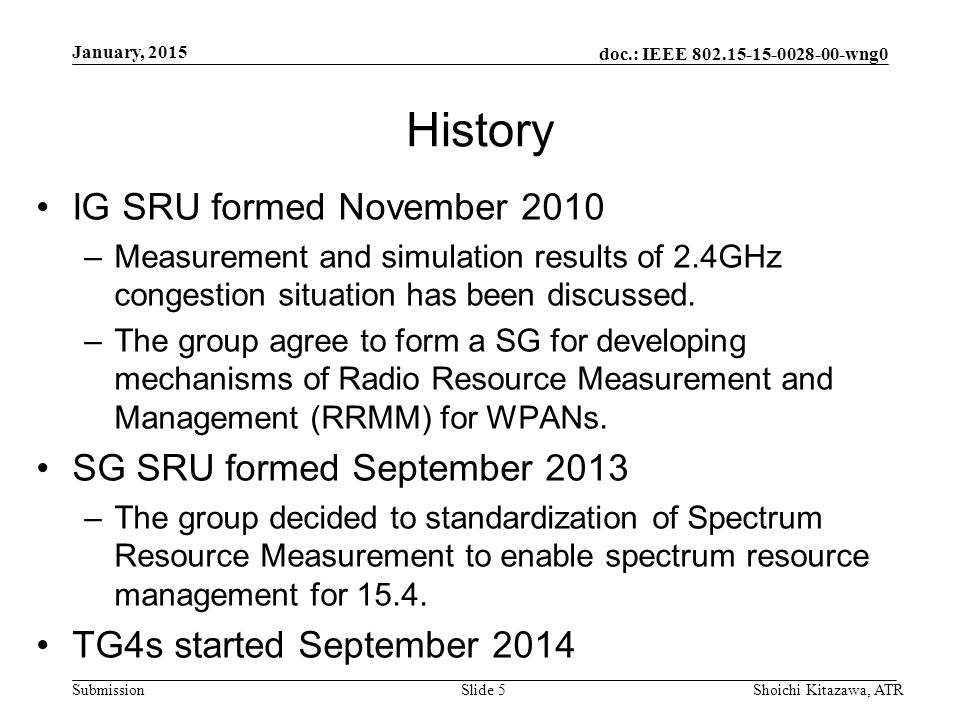 doc.: IEEE wng0 Submission History IG SRU formed November 2010 –Measurement and simulation results of 2.4GHz congestion situation has been discussed.