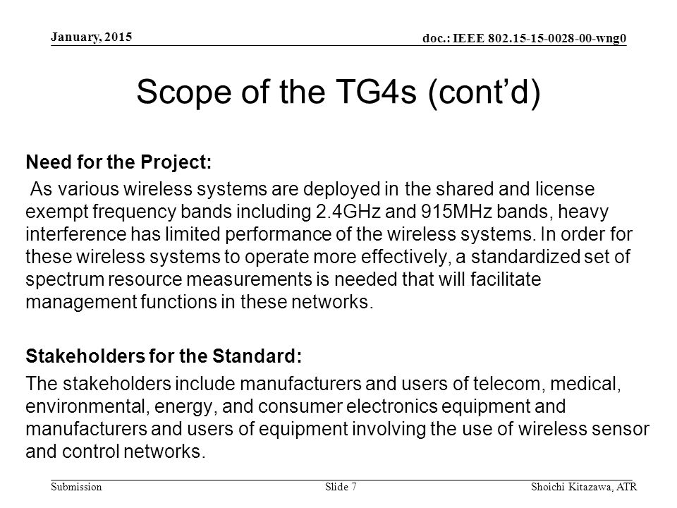 doc.: IEEE wng0 Submission Scope of the TG4s (cont'd) Need for the Project: As various wireless systems are deployed in the shared and license exempt frequency bands including 2.4GHz and 915MHz bands, heavy interference has limited performance of the wireless systems.