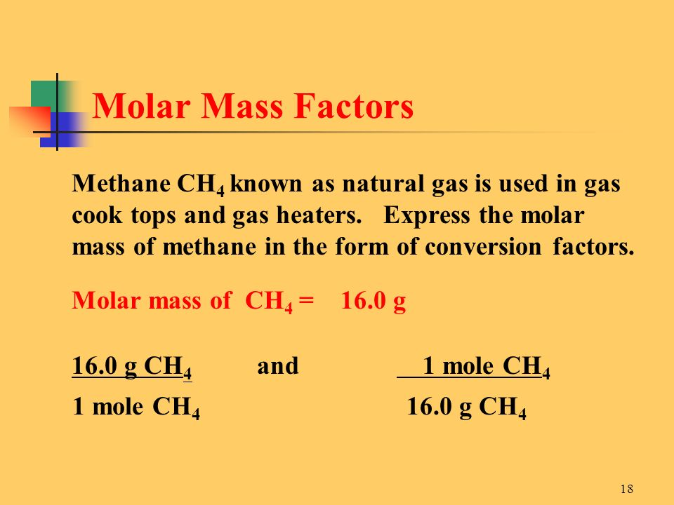 18 Methane CH 4 known as natural gas is used in gas cook tops and gas heaters.