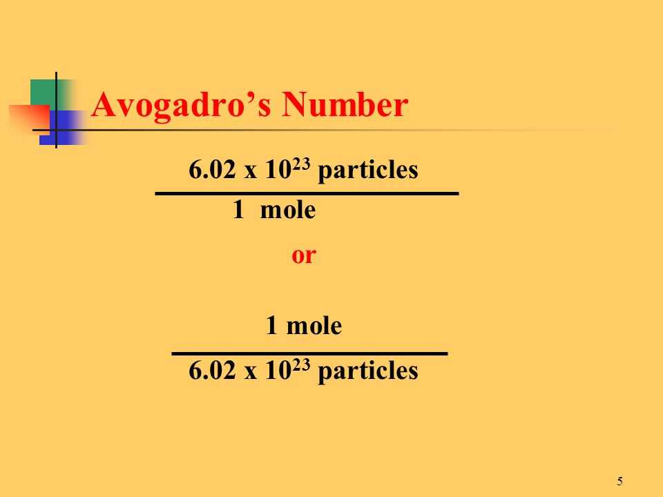 x particles 1 mole or 1 mole 6.02 x particles Avogadro's Number