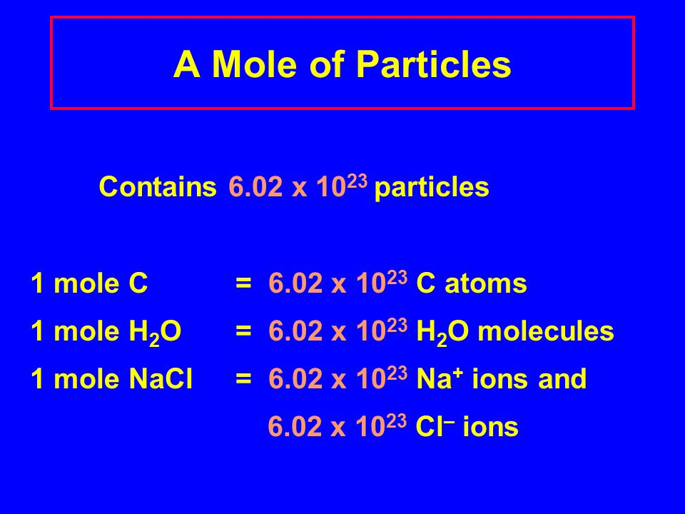 A Mole of Particles Contains 6.02 x particles 1 mole C = 6.02 x C atoms 1 mole H 2 O = 6.02 x H 2 O molecules 1 mole NaCl = 6.02 x Na + ions and 6.02 x Cl – ions