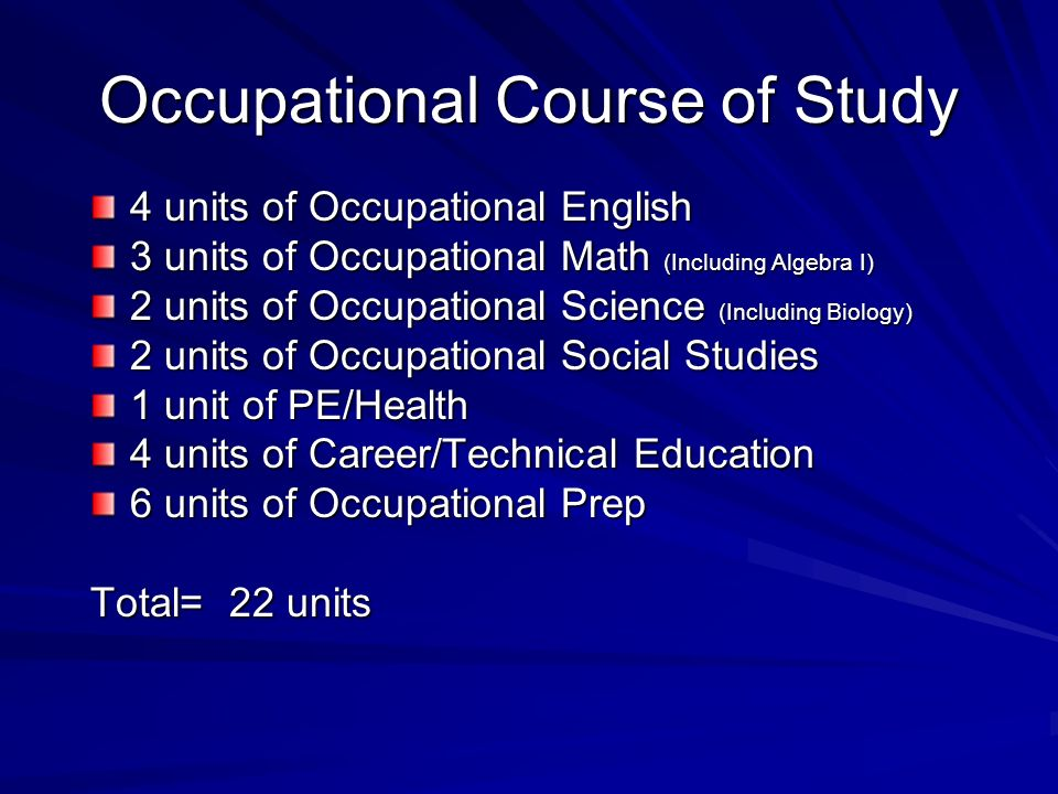 Occupational Course of Study 4 units of Occupational English 3 units of Occupational Math (Including Algebra I) 2 units of Occupational Science (Including Biology) 2 units of Occupational Social Studies 1 unit of PE/Health 4 units of Career/Technical Education 6 units of Occupational Prep Total= 22 units