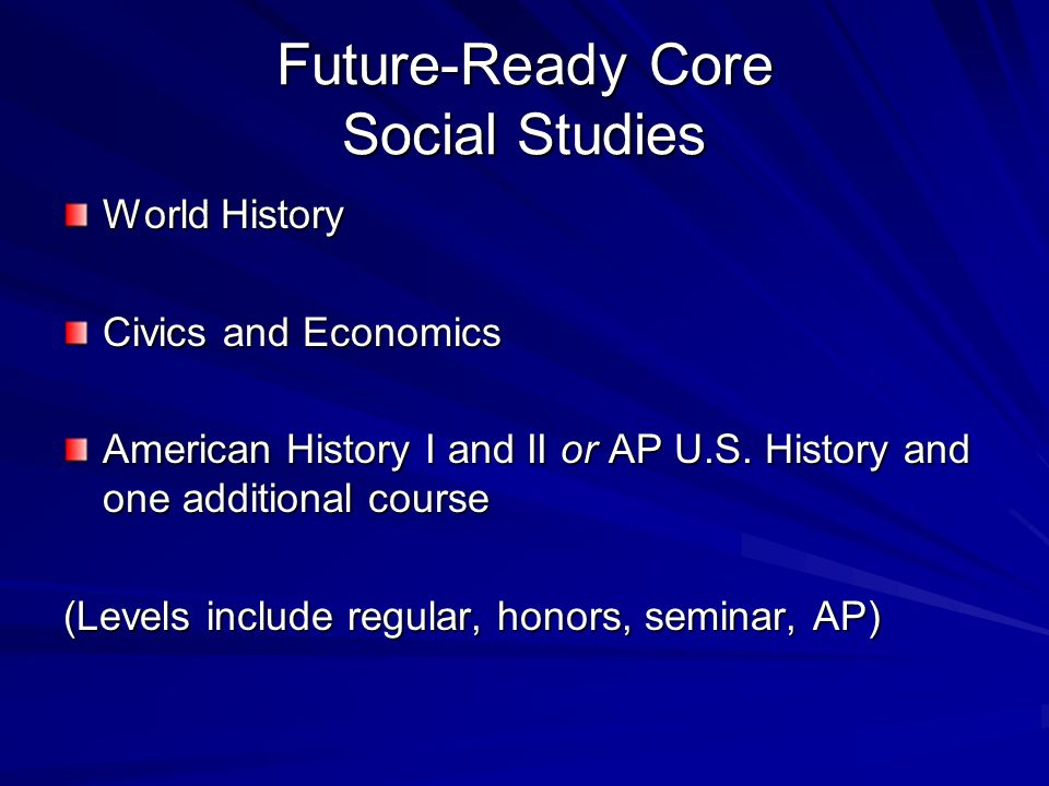 Future-Ready Core Social Studies World History Civics and Economics American History I and II or AP U.S.