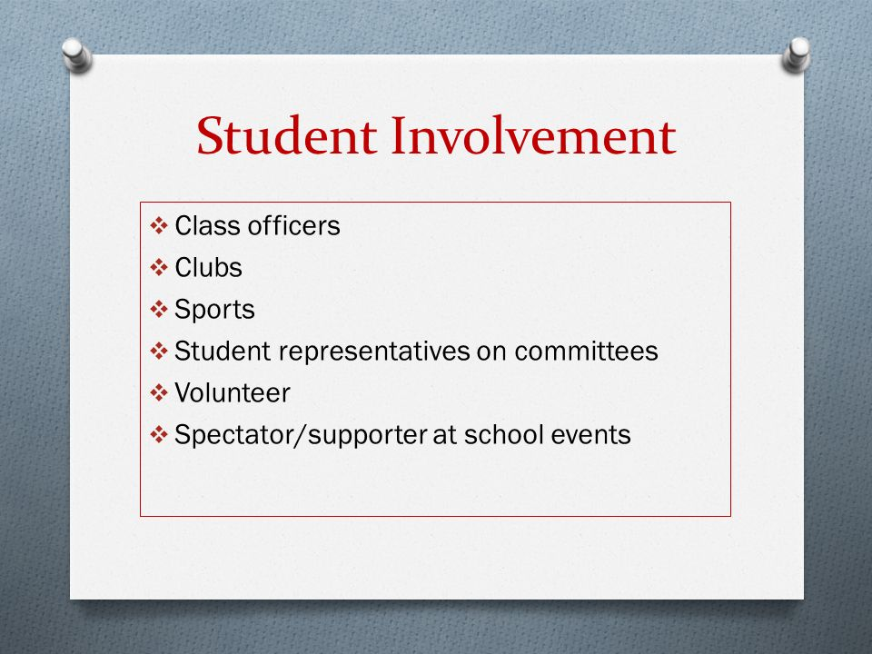 Student Involvement  Class officers  Clubs  Sports  Student representatives on committees  Volunteer  Spectator/supporter at school events