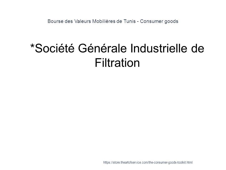 Bourse des Valeurs Mobilières de Tunis - Consumer goods 1 *Société Générale Industrielle de Filtration https://store.theartofservice.com/the-consumer-goods-toolkit.html