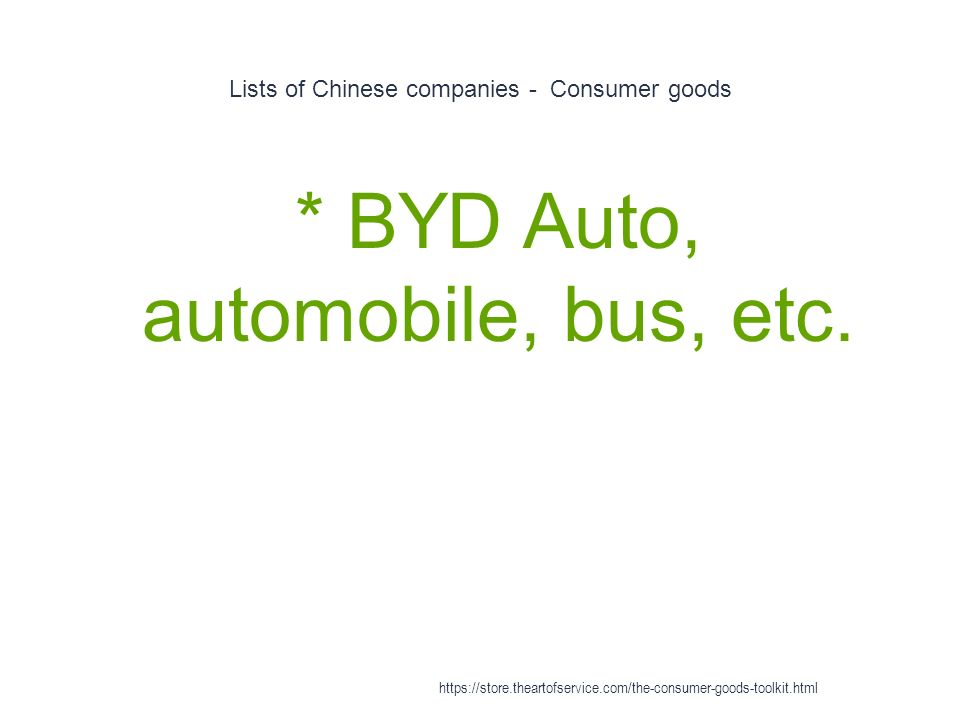 Lists of Chinese companies - Consumer goods 1 * BYD Auto, automobile, bus, etc.