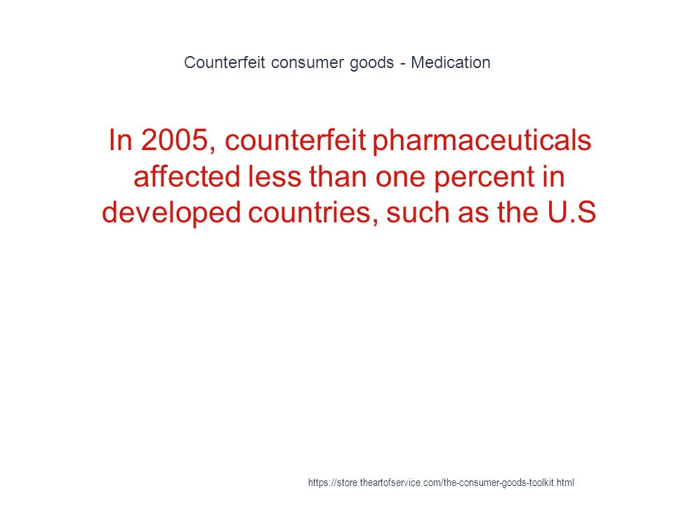 Counterfeit consumer goods - Medication 1 In 2005, counterfeit pharmaceuticals affected less than one percent in developed countries, such as the U.S https://store.theartofservice.com/the-consumer-goods-toolkit.html