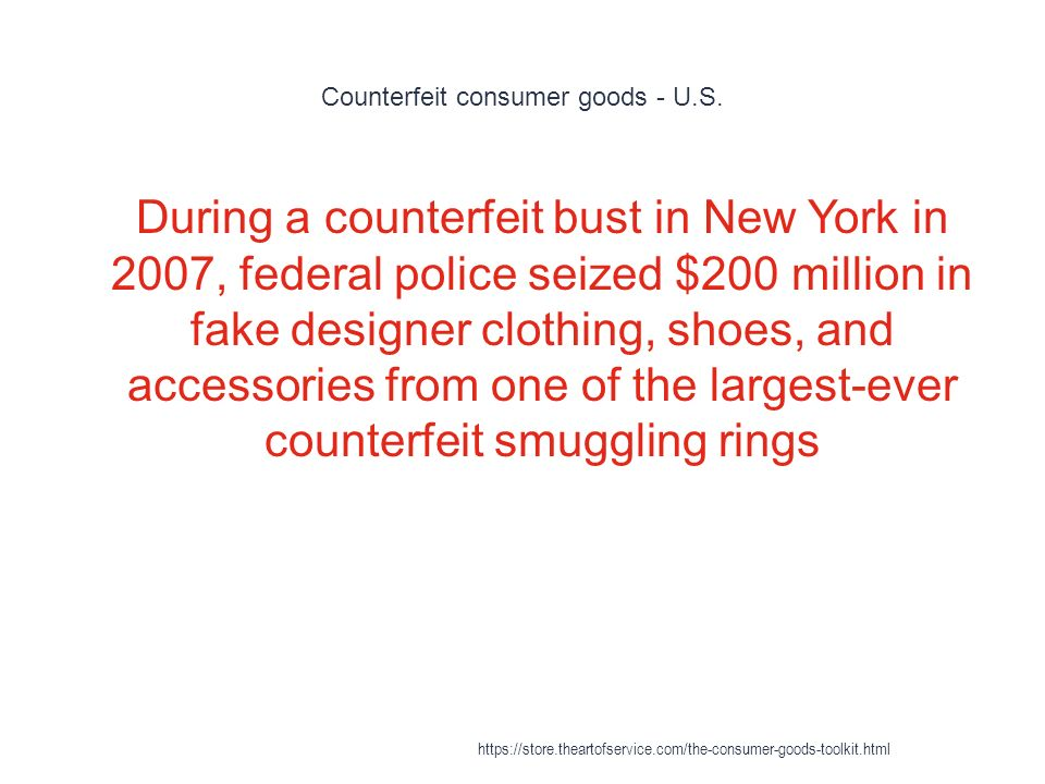 Counterfeit consumer goods - U.S.