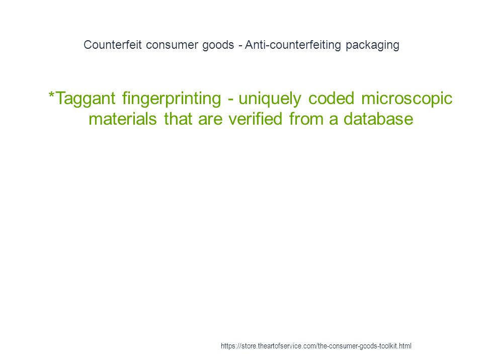 Counterfeit consumer goods - Anti-counterfeiting packaging 1 *Taggant fingerprinting - uniquely coded microscopic materials that are verified from a database https://store.theartofservice.com/the-consumer-goods-toolkit.html