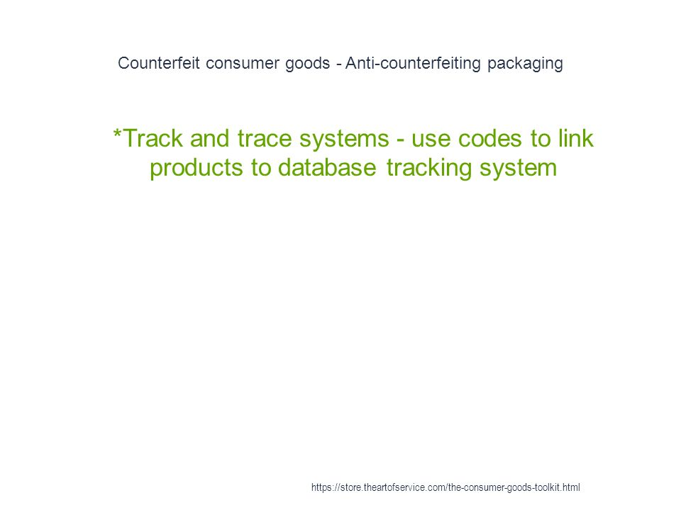 Counterfeit consumer goods - Anti-counterfeiting packaging 1 *Track and trace systems - use codes to link products to database tracking system https://store.theartofservice.com/the-consumer-goods-toolkit.html