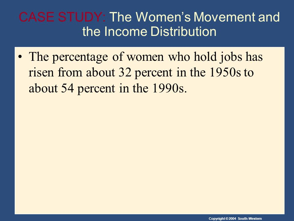 Copyright © 2004 South-Western CASE STUDY: The Women's Movement and the Income Distribution The percentage of women who hold jobs has risen from about 32 percent in the 1950s to about 54 percent in the 1990s.