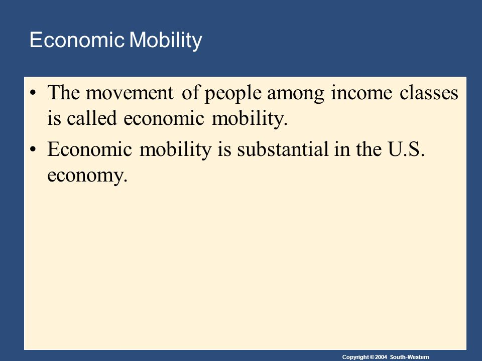Copyright © 2004 South-Western Economic Mobility The movement of people among income classes is called economic mobility.