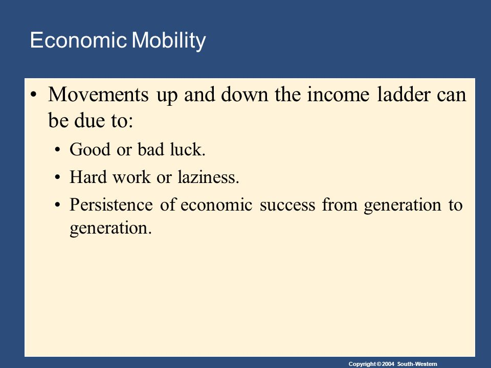 Copyright © 2004 South-Western Economic Mobility Movements up and down the income ladder can be due to: Good or bad luck.