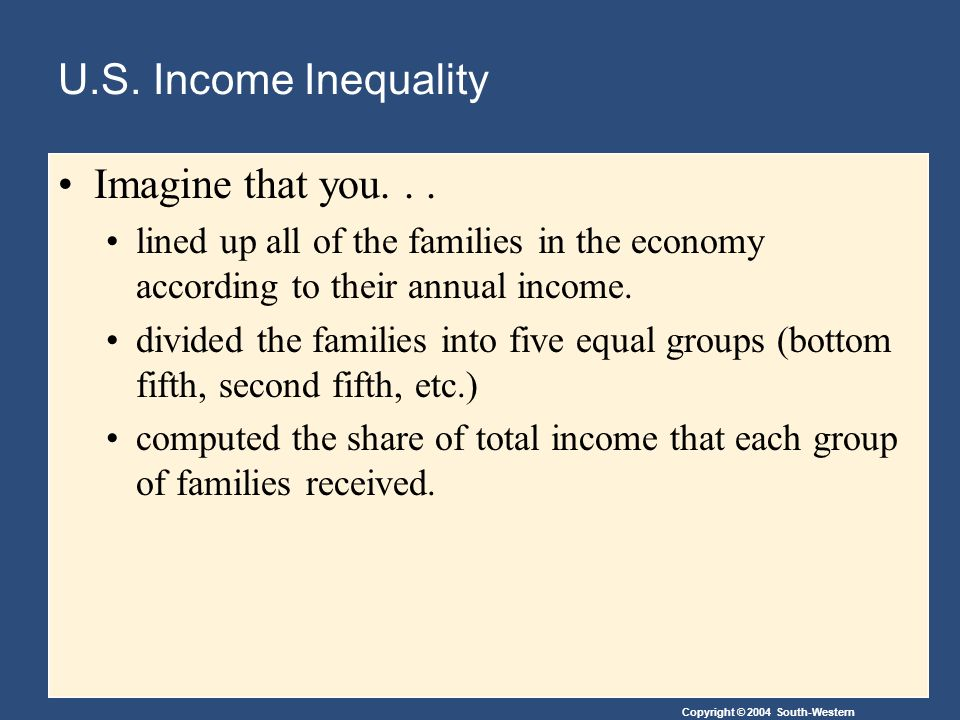 U.S. Income Inequality Imagine that you...