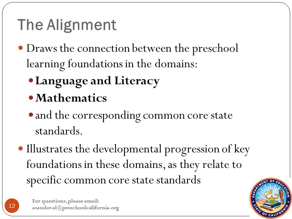 The Alignment Draws the connection between the preschool learning foundations in the domains: Language and Literacy Mathematics and the corresponding common core state standards.