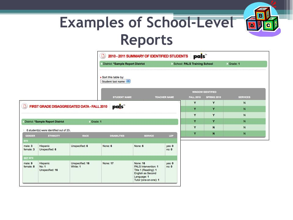 Examples of School-Level Reports