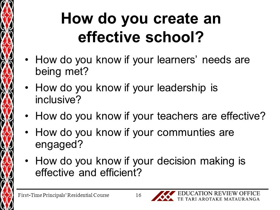 How do you create an effective school. How do you know if your learners' needs are being met.