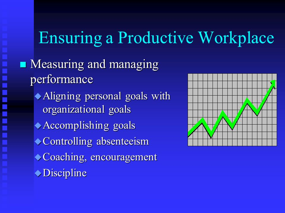 Ensuring a Productive Workplace n Measuring and managing performance u Aligning personal goals with organizational goals u Accomplishing goals u Controlling absenteeism u Coaching, encouragement u Discipline
