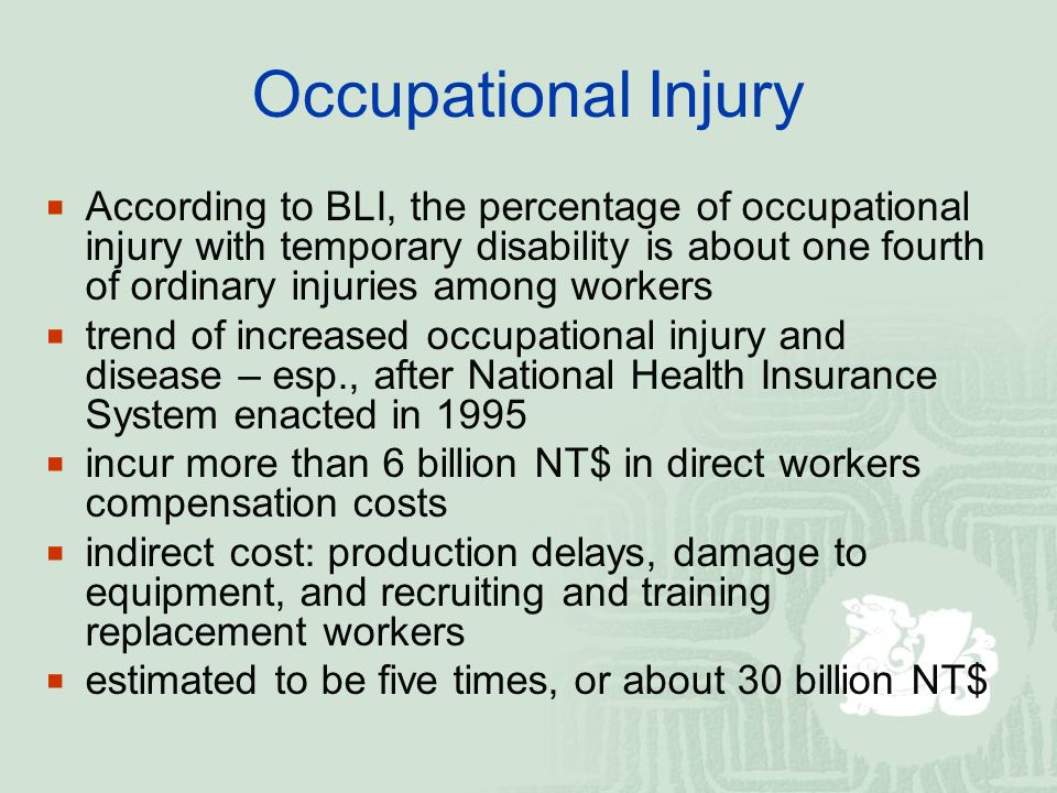 Occupational Injury  According to BLI, the percentage of occupational injury with temporary disability is about one fourth of ordinary injuries among workers  trend of increased occupational injury and disease – esp., after National Health Insurance System enacted in 1995  incur more than 6 billion NT$ in direct workers compensation costs  indirect cost: production delays, damage to equipment, and recruiting and training replacement workers  estimated to be five times, or about 30 billion NT$