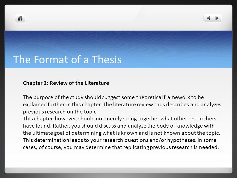 Format Of Writing Literature Review