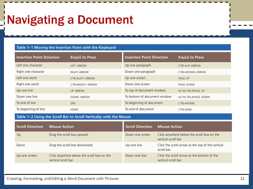 Creating, Formatting, and Editing a Word Document with Pictures12 Navigating a Document