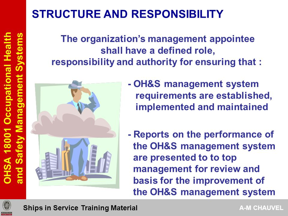 OHSA 18001 Occupational Health and Safety Management Systems STRUCTURE AND RESPONSIBILITY 441 Management shall provide resources essential to the implementation, control and improvement of the OH&S management system Financial resourcesHuman resources TechnologySpecialized skills Ships in Service Training Material A-M CHAUVEL
