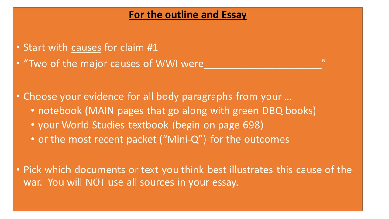 introduction leave space for sentence thesis at end of for the outline and essay start causes for claim 1 two of the major