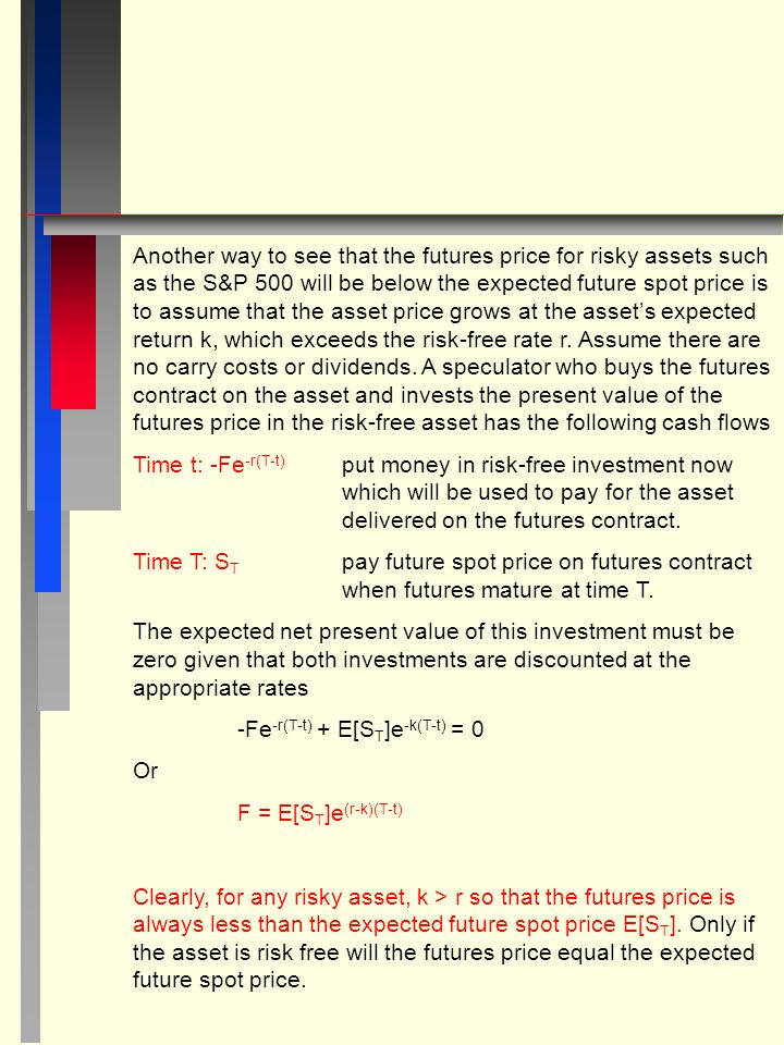 Another way to see that the futures price for risky assets such as the S&P 500 will be below the expected future spot price is to assume that the asset price grows at the asset's expected return k, which exceeds the risk-free rate r.